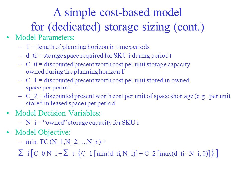 A simple cost-based model for (dedicated) storage sizing (cont.)