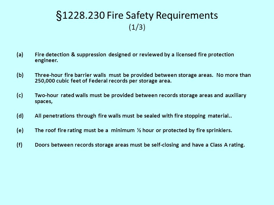 §1228.230 Fire Safety Requirements (1/3)