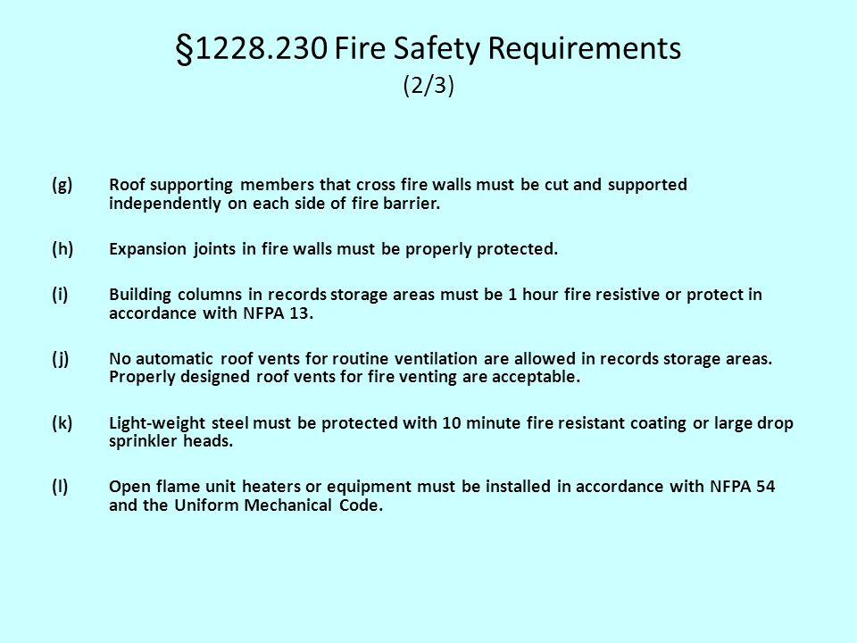 §1228.230 Fire Safety Requirements (2/3)
