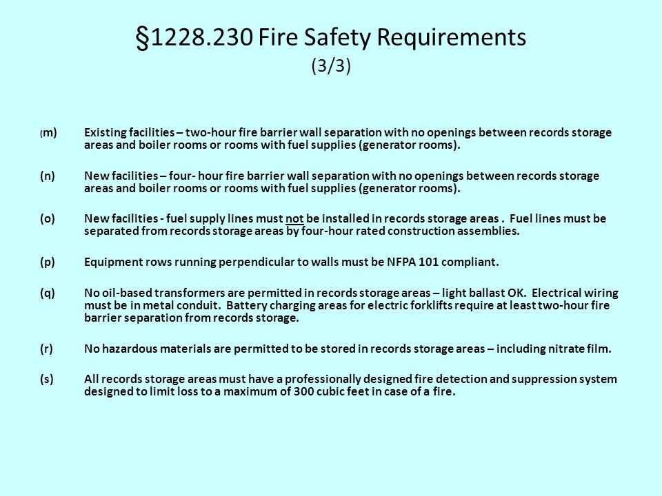 §1228.230 Fire Safety Requirements (3/3)