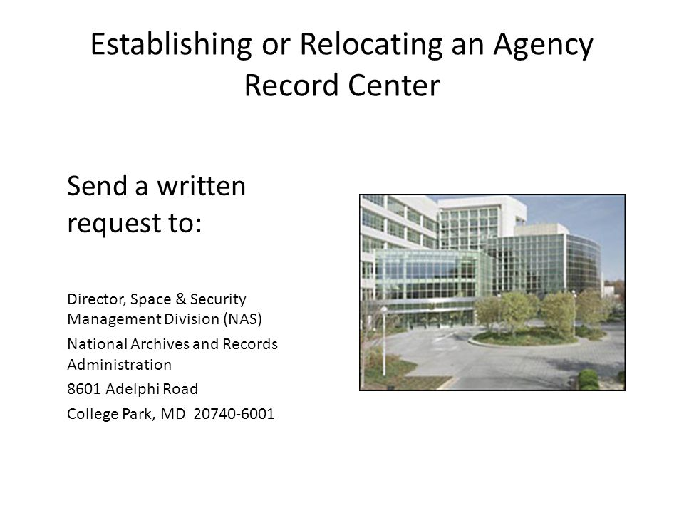 Establishing or Relocating an Agency Record Center