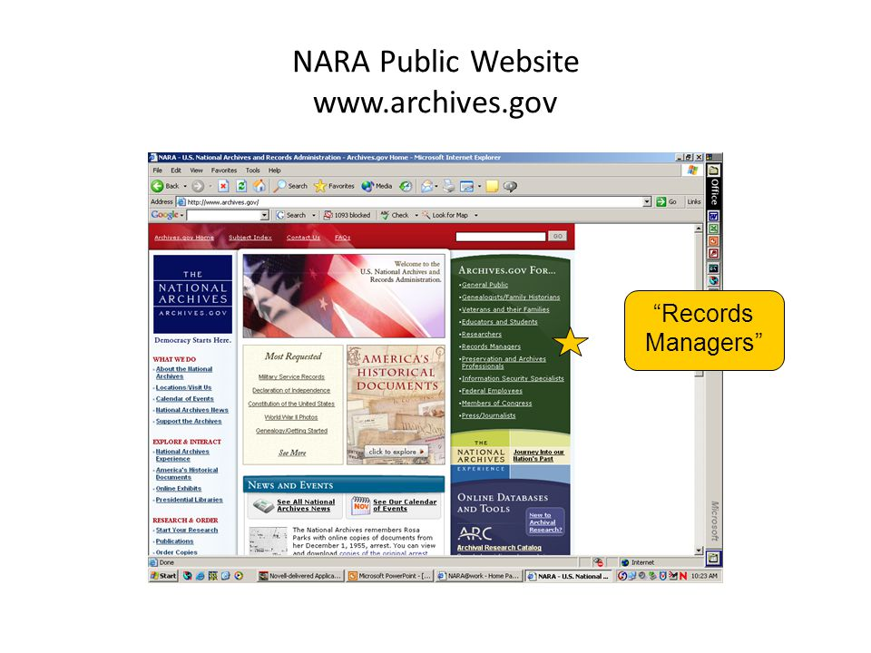 NARA Public Website www.archives.gov