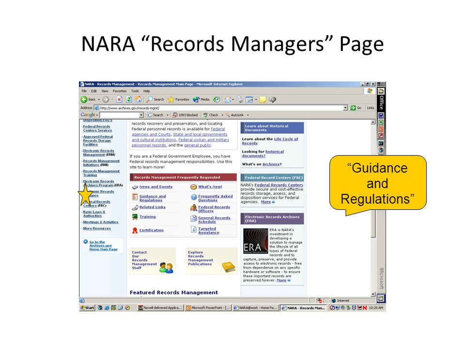 NARA Records Managers Page