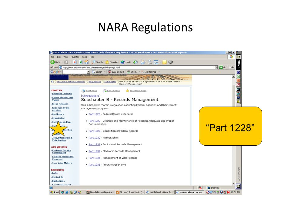 NARA Regulations Part 1228