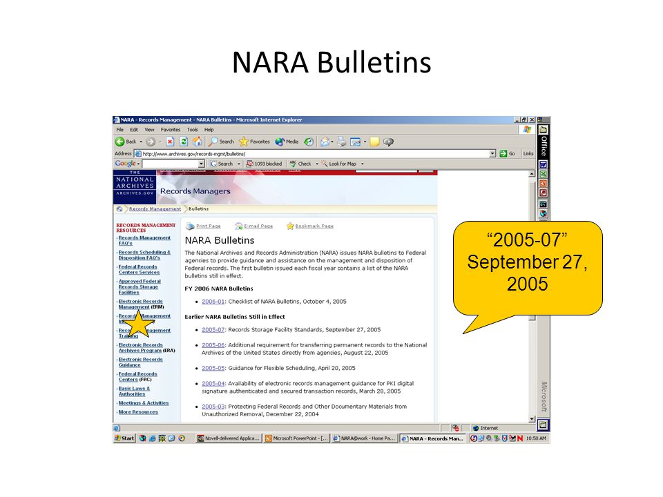 NARA Bulletins 2005-07 September 27, 2005