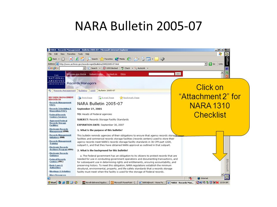 Click on Attachment 2 for NARA 1310 Checklist