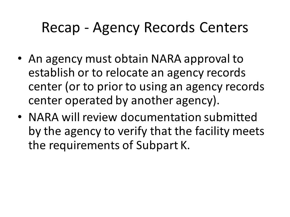 Recap - Agency Records Centers