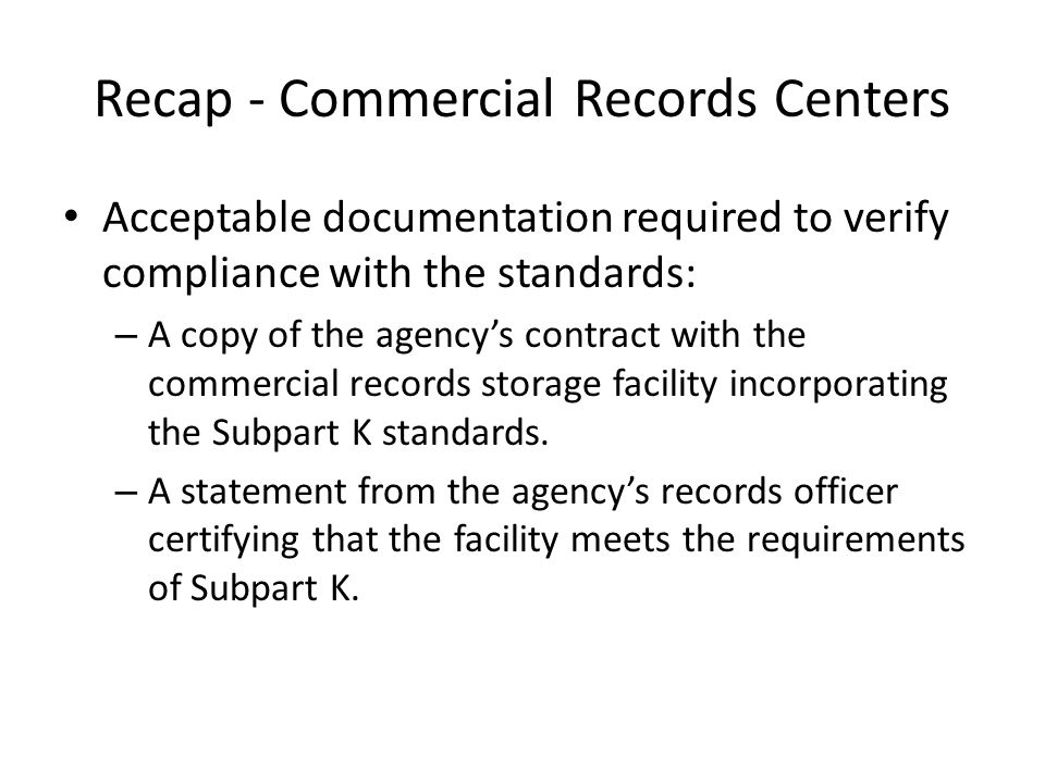 Recap - Commercial Records Centers