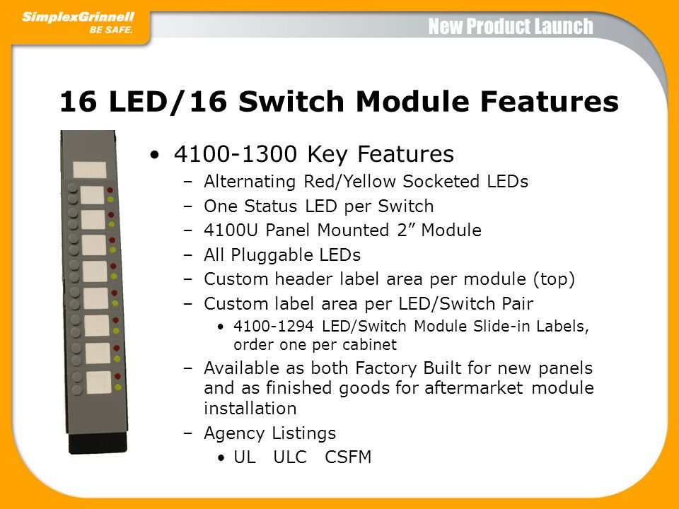 16 LED/16 Switch Module Features
