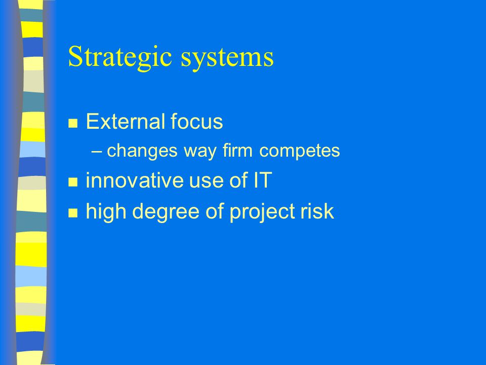 Strategic systems External focus innovative use of IT