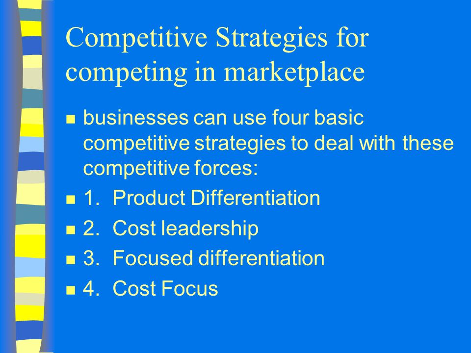 Competitive Strategies for competing in marketplace