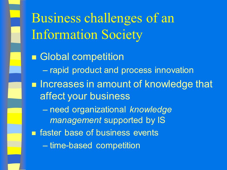 Business challenges of an Information Society