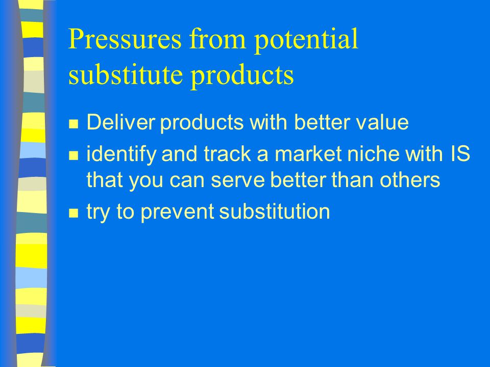 Pressures from potential substitute products