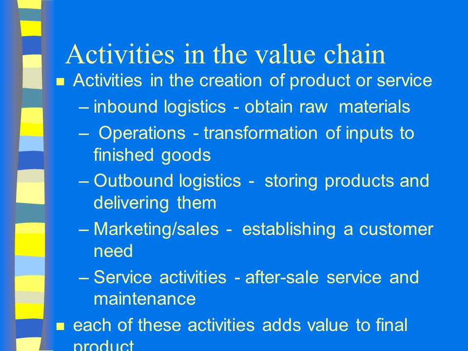 Activities in the value chain