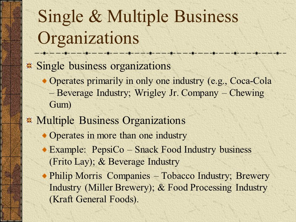 Single & Multiple Business Organizations