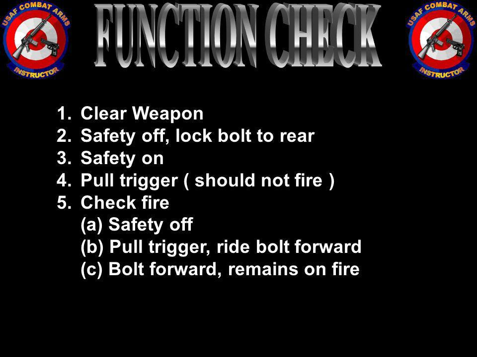 FUNCTION CHECK Clear Weapon Safety off, lock bolt to rear Safety on