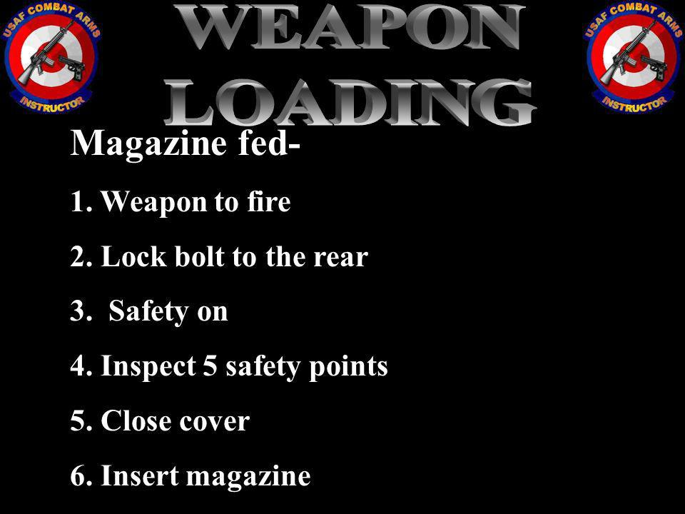 WEAPON LOADING Magazine fed- 1. Weapon to fire