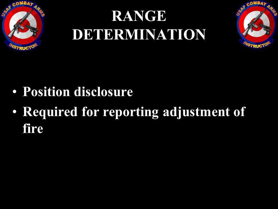RANGE DETERMINATION Position disclosure