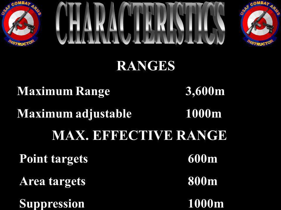 CHARACTERISTICS RANGES MAX. EFFECTIVE RANGE Maximum Range 3,600m