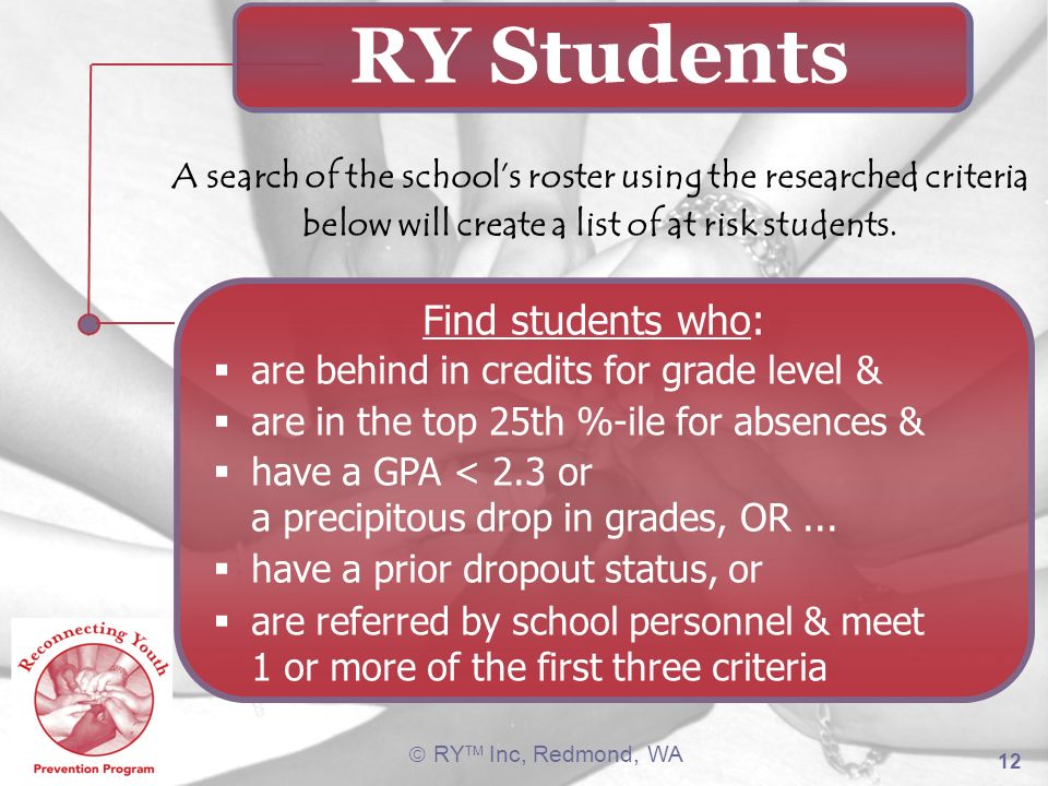 RY Students Find students who: are behind in credits for grade level &