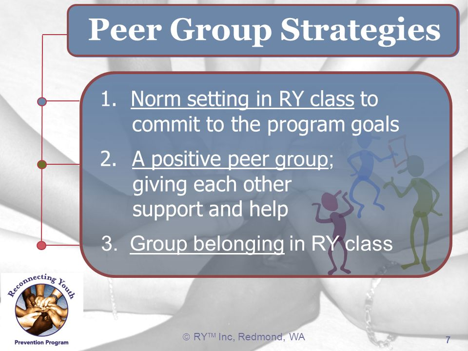 Peer Group Strategies 1. Norm setting in RY class to commit to the program goals. A positive peer group;