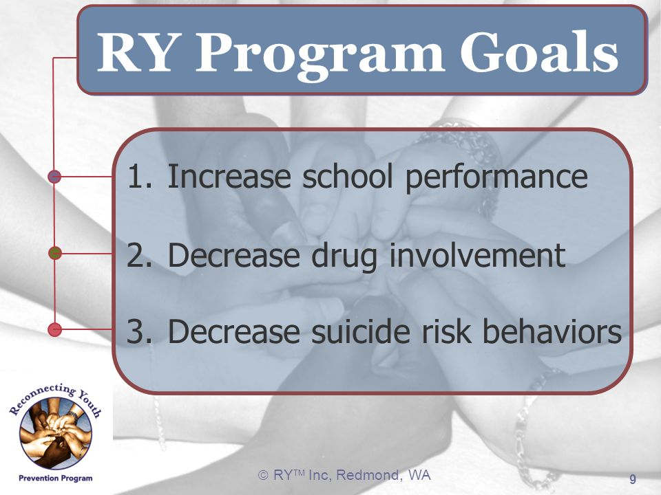 RY Program Goals 1. Increase school performance