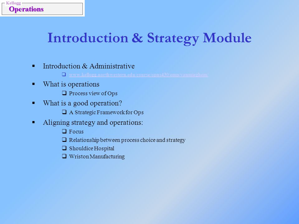 Introduction & Strategy Module
