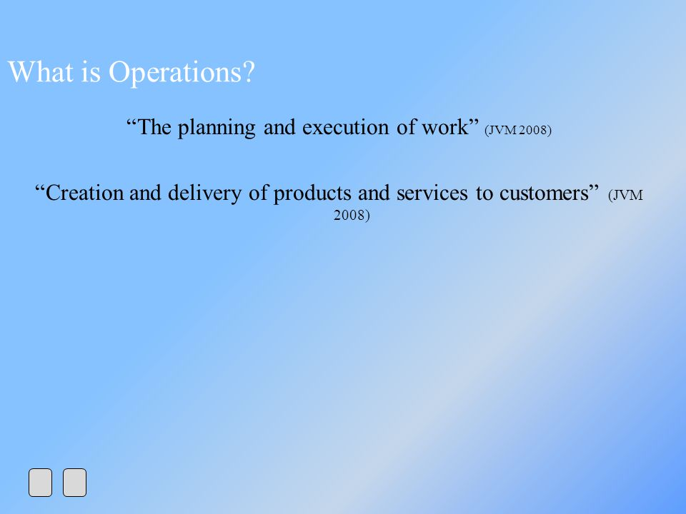 The planning and execution of work (JVM 2008)