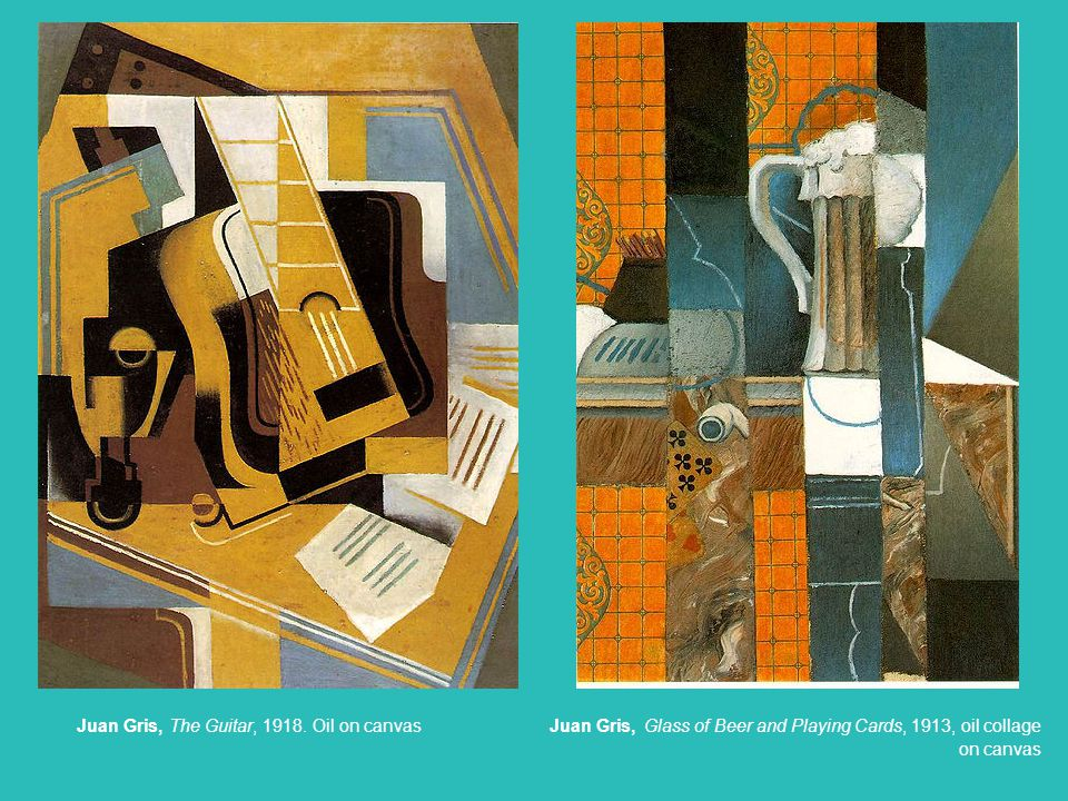 Juan Gris, Glass of Beer and Playing Cards, 1913, oil collage on canvas
