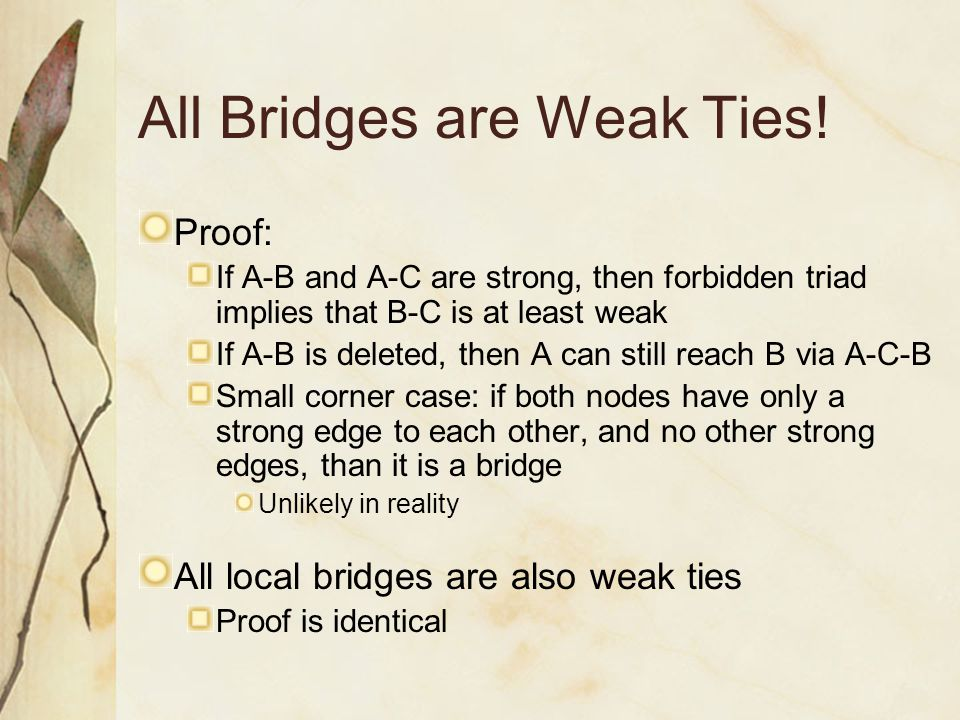 All Bridges are Weak Ties!