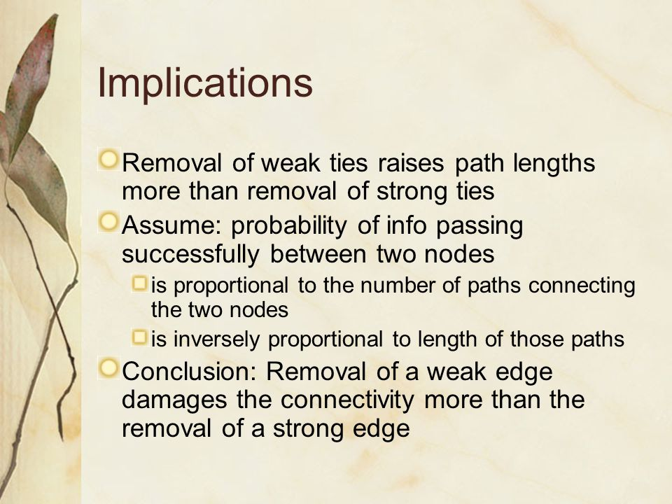 Implications Removal of weak ties raises path lengths more than removal of strong ties.