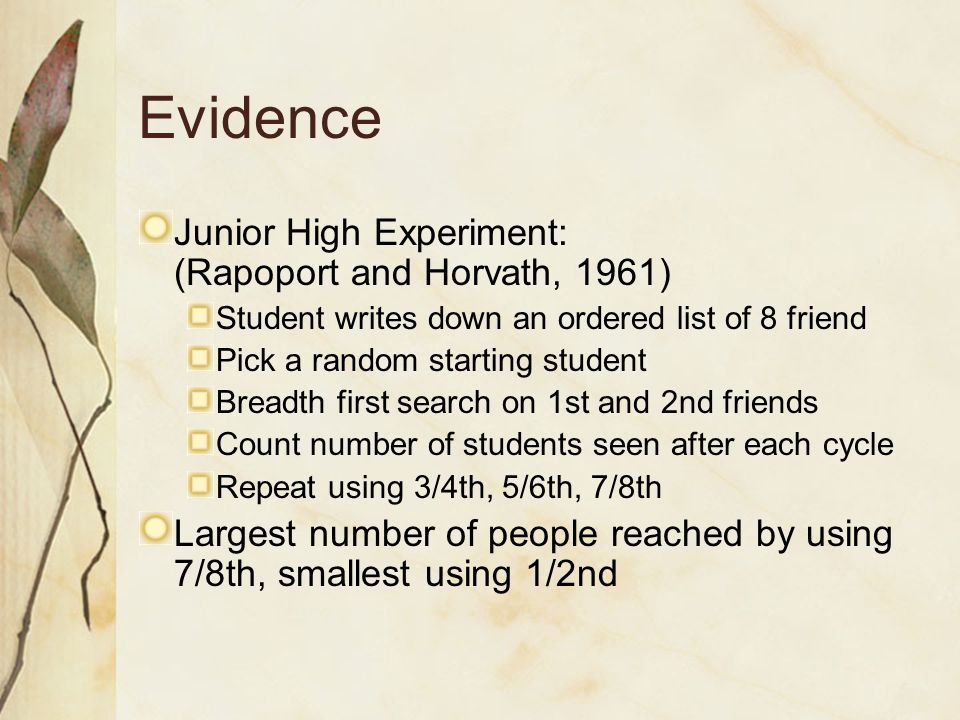 Evidence Junior High Experiment: (Rapoport and Horvath, 1961)