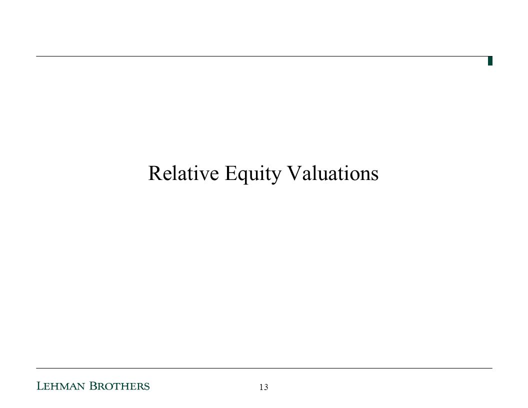 Relative Equity Valuations