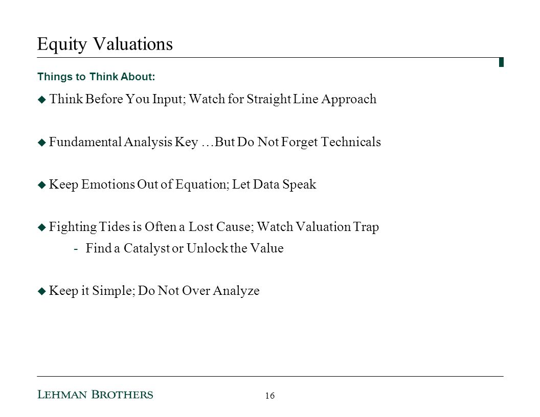 3/25/ :35 AM Equity Valuations. Things to Think About: Think Before You Input; Watch for Straight Line Approach.