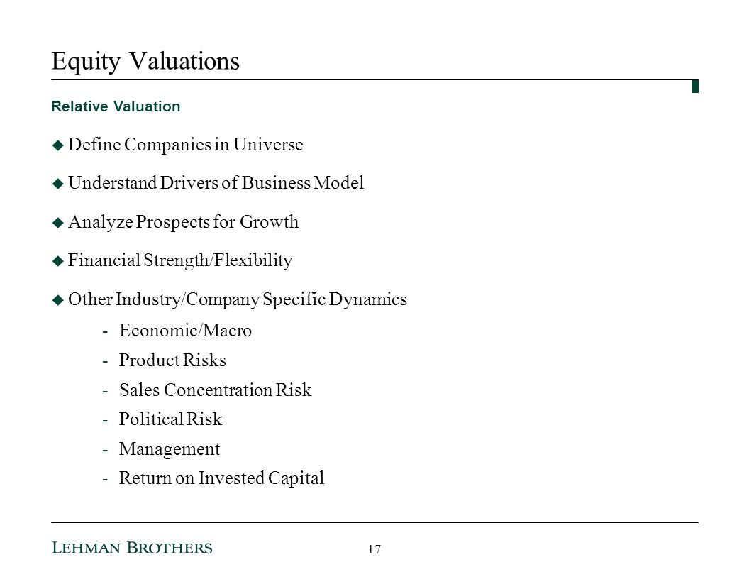 Equity Valuations Define Companies in Universe