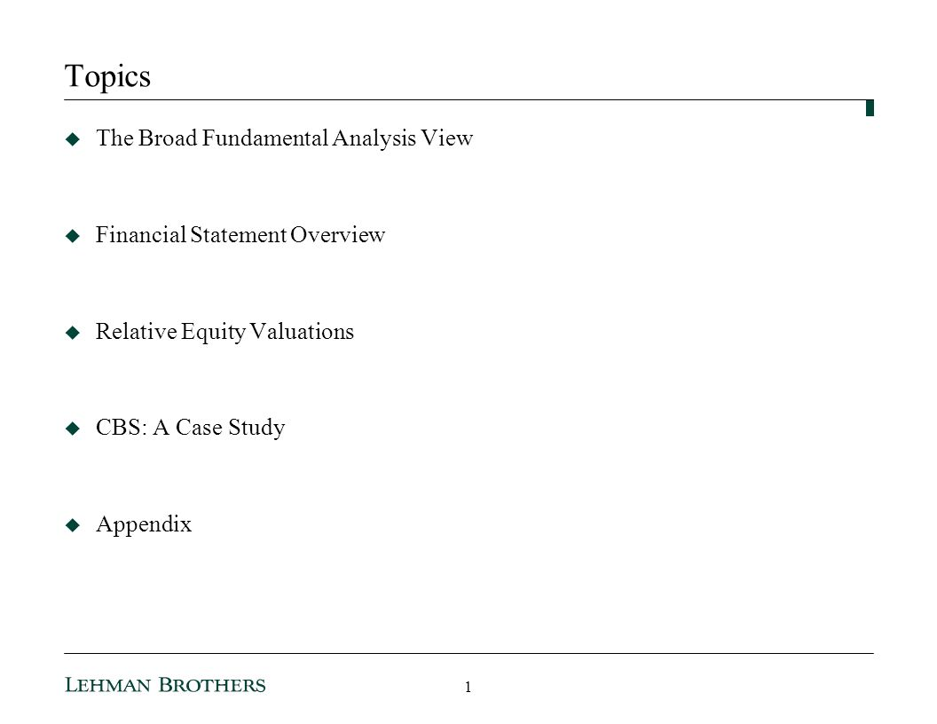Topics The Broad Fundamental Analysis View