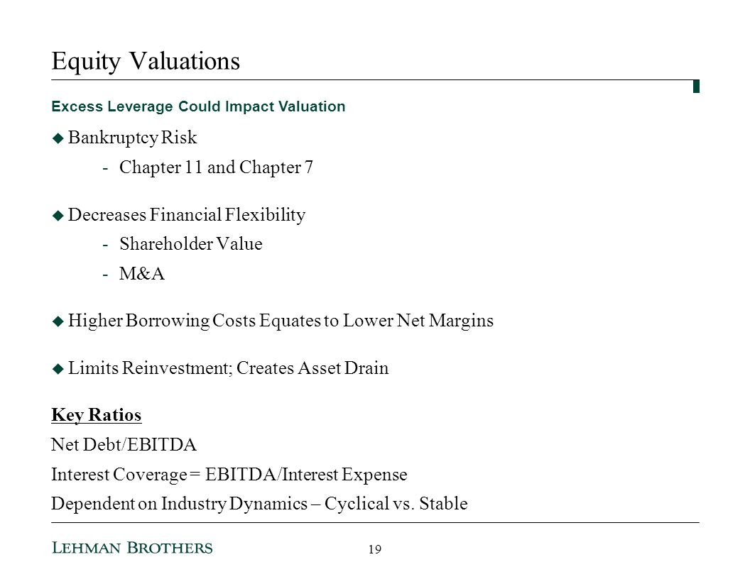 Equity Valuations Bankruptcy Risk Chapter 11 and Chapter 7