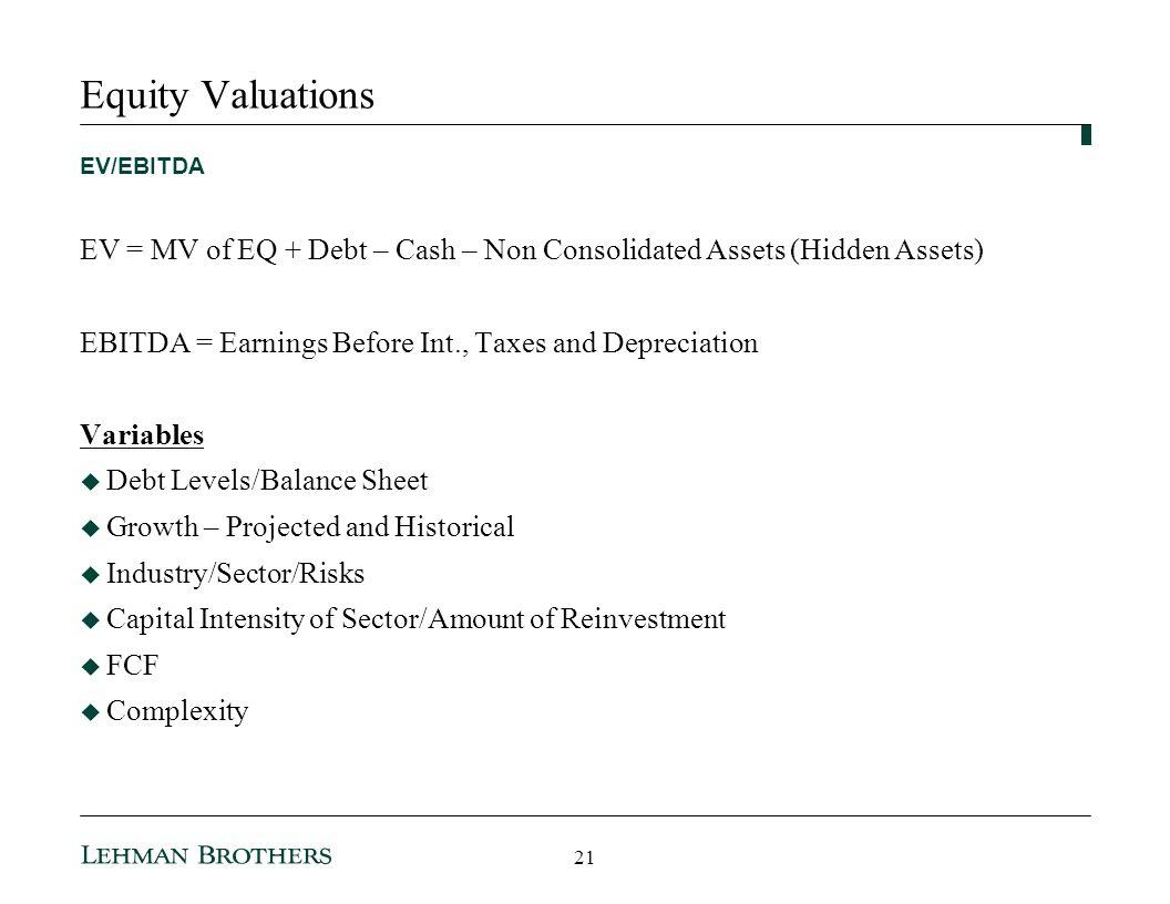 3/25/2017 10:35 AM Equity Valuations. EV/EBITDA. EV = MV of EQ + Debt – Cash – Non Consolidated Assets (Hidden Assets)