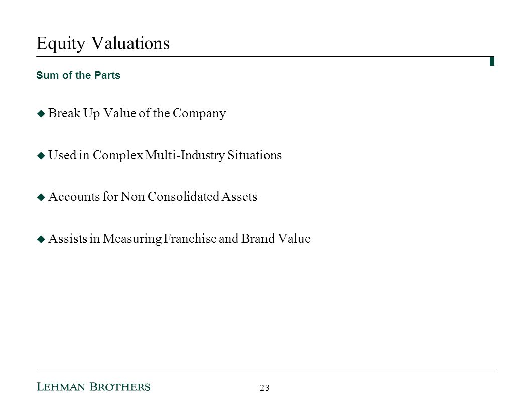 Equity Valuations Break Up Value of the Company