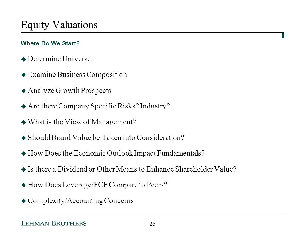 Equity Valuations Determine Universe Examine Business Composition