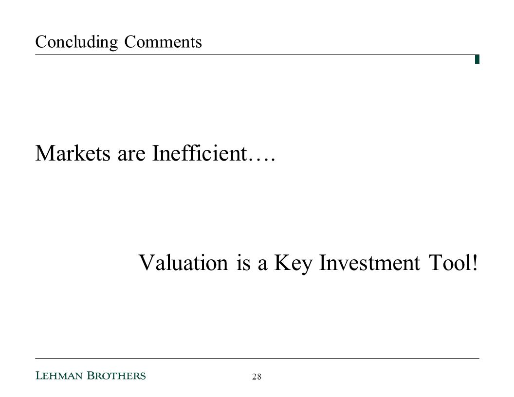 Markets are Inefficient….