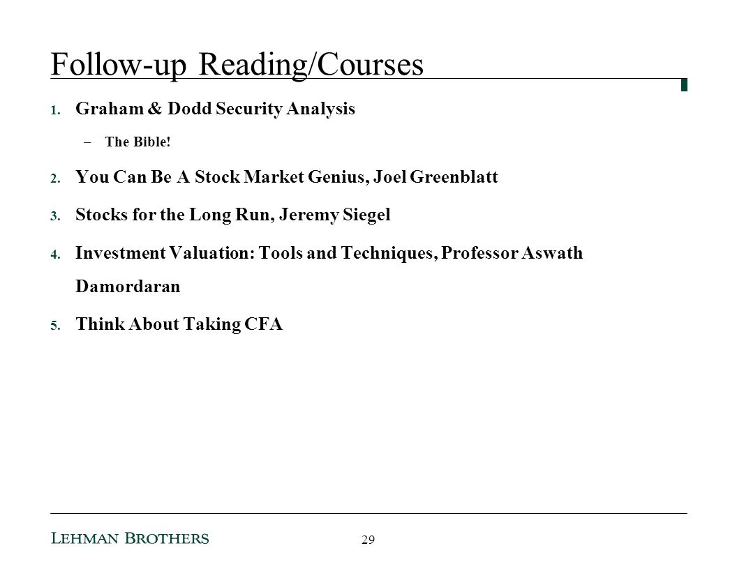 Follow-up Reading/Courses