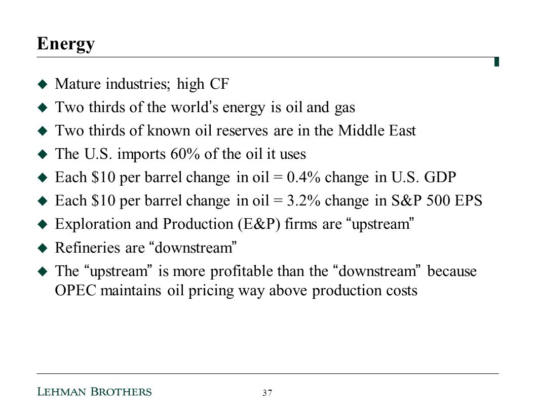 Energy Mature industries; high CF
