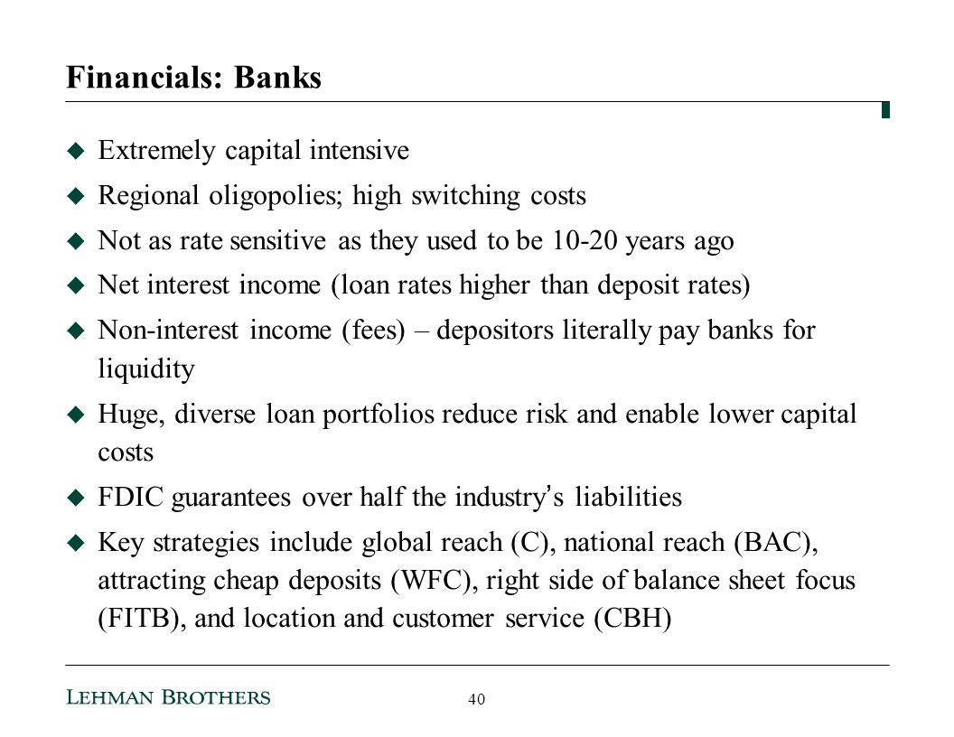 Financials: Banks Extremely capital intensive