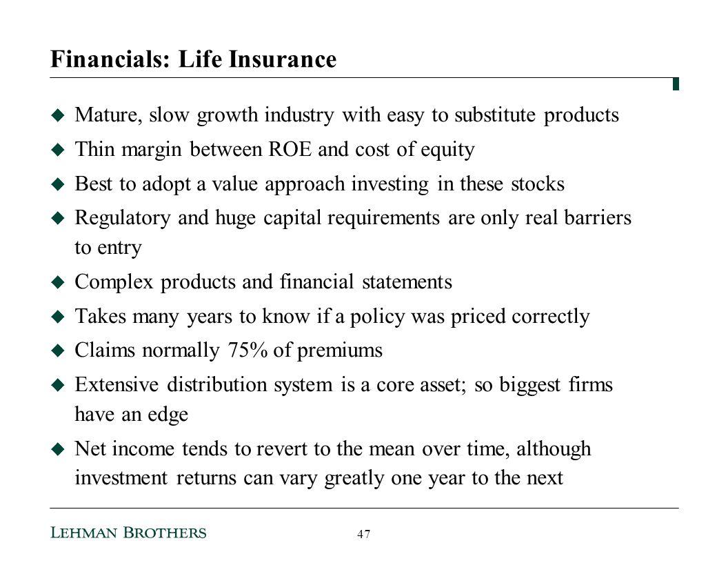 Financials: Life Insurance