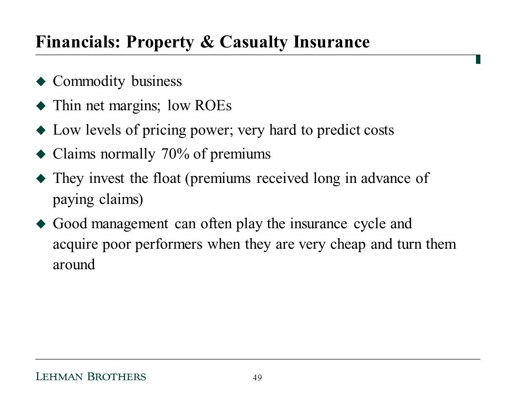 Financials: Property & Casualty Insurance