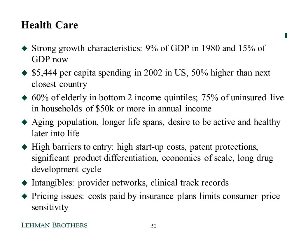 Health Care Strong growth characteristics: 9% of GDP in 1980 and 15% of GDP now.