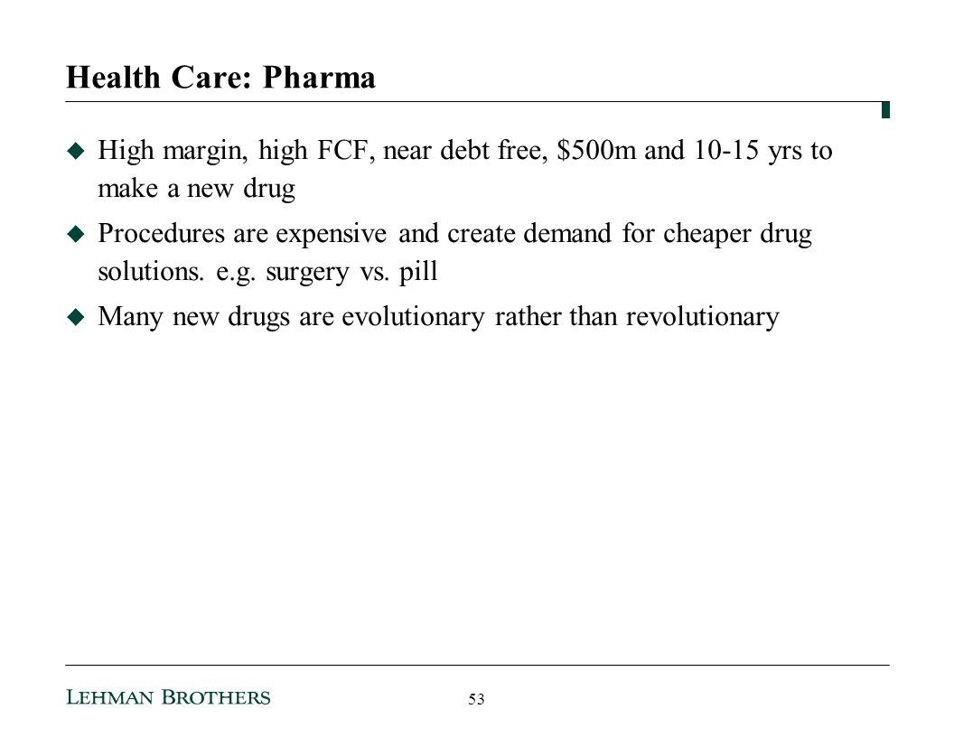 Health Care: Pharma High margin, high FCF, near debt free, $500m and 10-15 yrs to make a new drug.