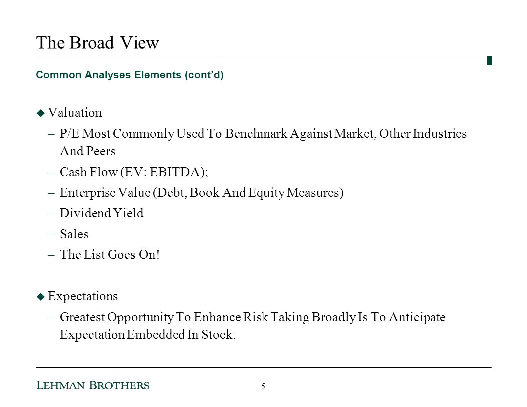 The Broad View Valuation