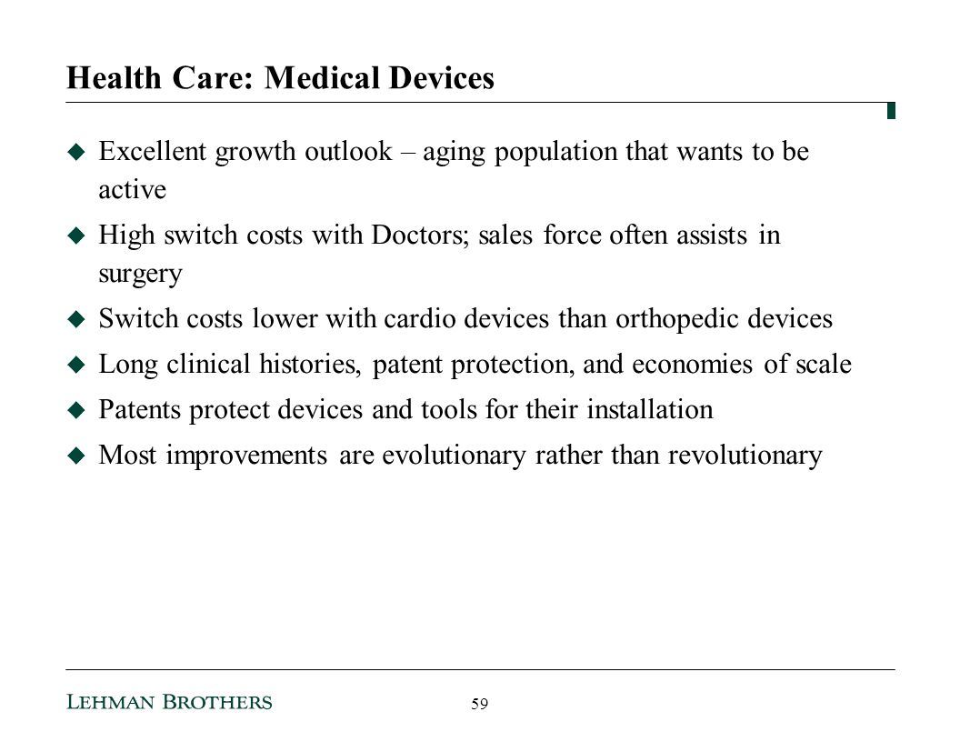 Health Care: Medical Devices